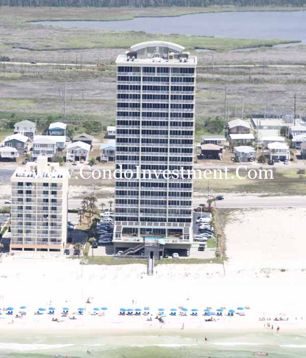 Southern exposure of the Colonnades in Gulf Shores | Aerial