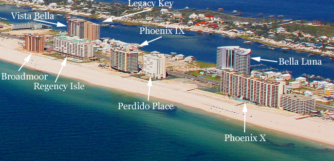 Map Of Orange Beach Al Hotels