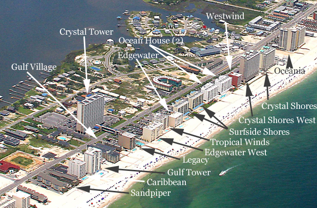 Map Of Gulf Shores Alabama Gulf Shores Condos for Sale Aerial Image Search   CondoInvestment.com