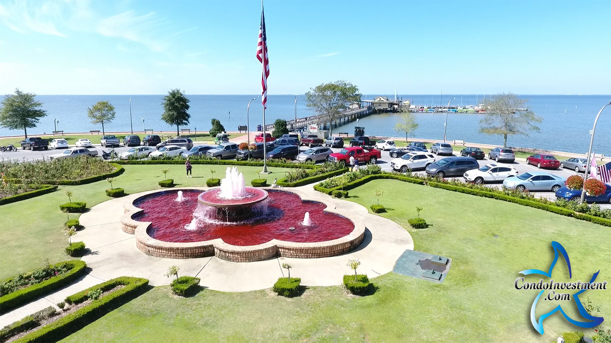 Aerial view of the fountain at the Fairhope pier