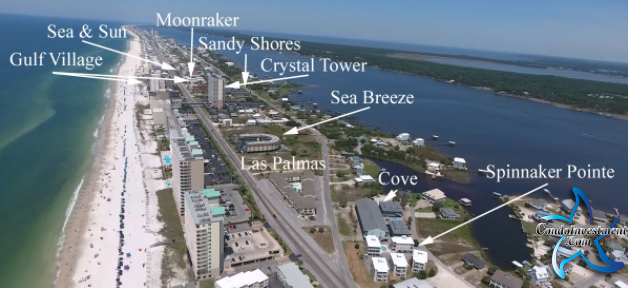 North side of Beach Blvd in Gulf Shores - Aerial