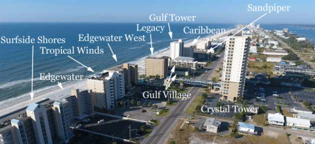 West-most part of downtown Gulf Shores Alabama