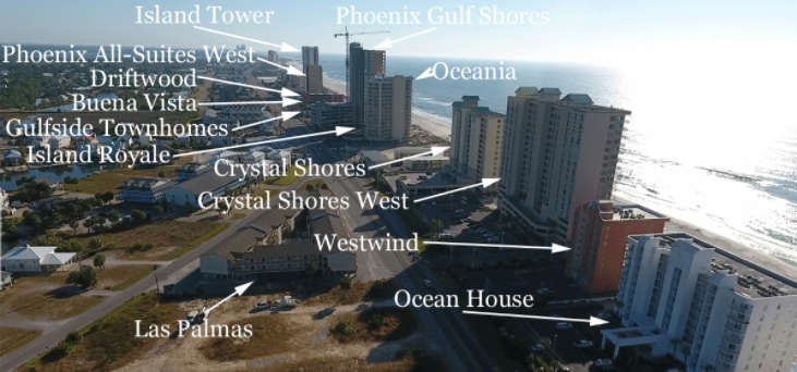 Aerial images of West Beach in Gulf Shores - Labeled condos