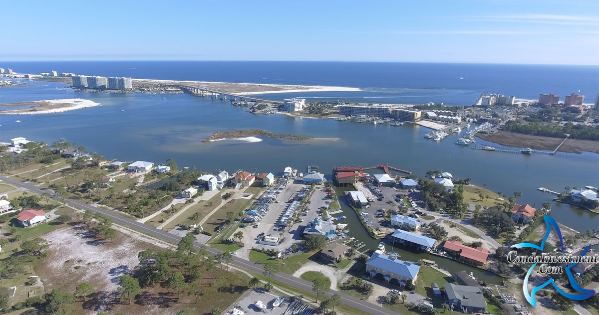Aerial image of Perdido Pass from over Tacky Jacks