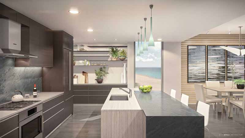 Kitchen rendering at Azura Key condos