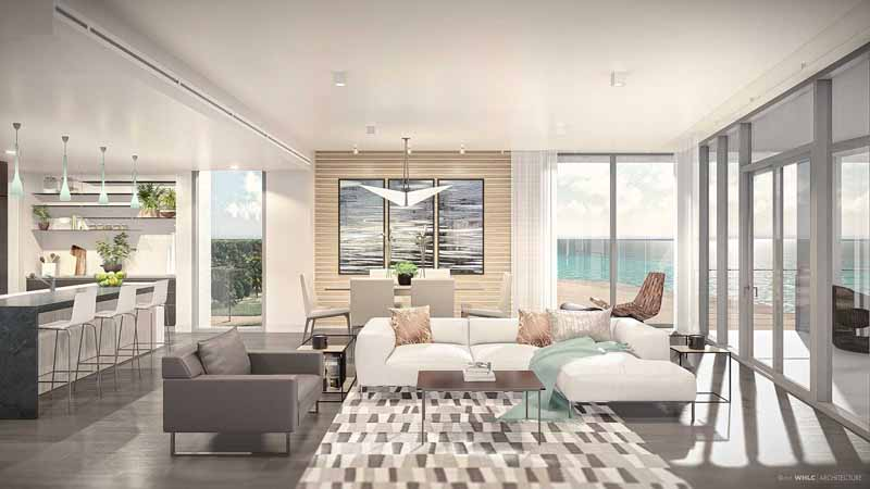 Rendering of the interior at Azura Key