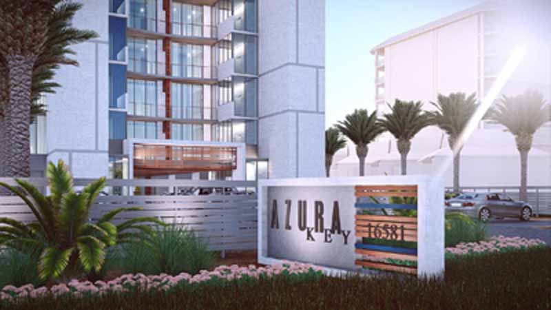 Front side of Azura Key condos