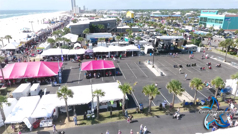 Overhead view of the Annual Shrimp Festival in Gulf Shores, AL at the Hangout / Gulf Place