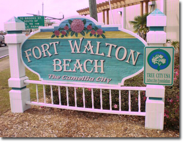 Welcome sign for the beach in Fort Walton Beach, Florida