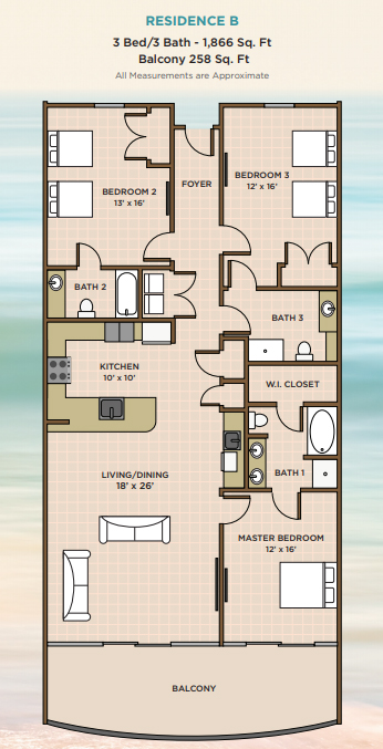 3BR Floor Plan for Phoenix Gulf Towers in Orange Beach, AL