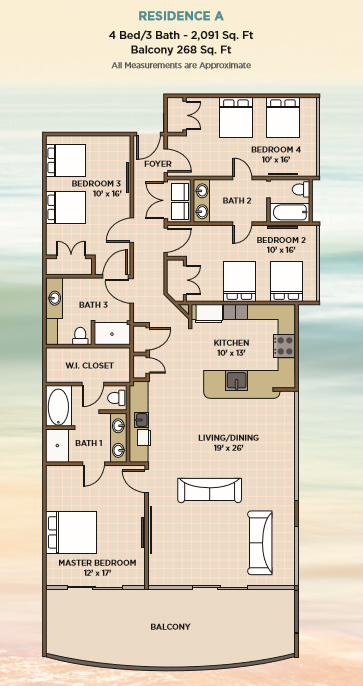 4BR Floor Plans for Phoenix Gulf Towers in Orange Beach, AL