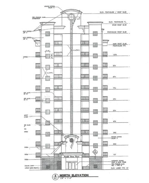 North elevation plans at Perdido Dunes Tower