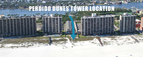 Perdido Dunes Tower Location - South View