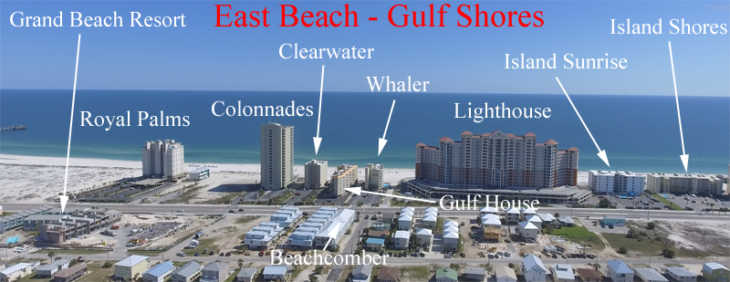 Aerial labeled image of East Beach condos in downtown Gulf Shores Alabama