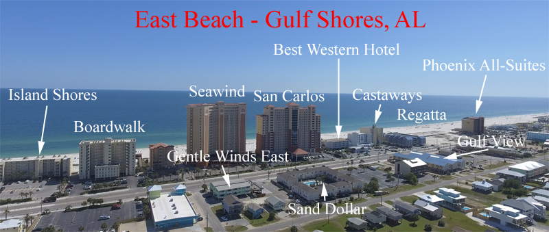 Aerial labeled condos in East Beach - Downtown Gulf Shores AL