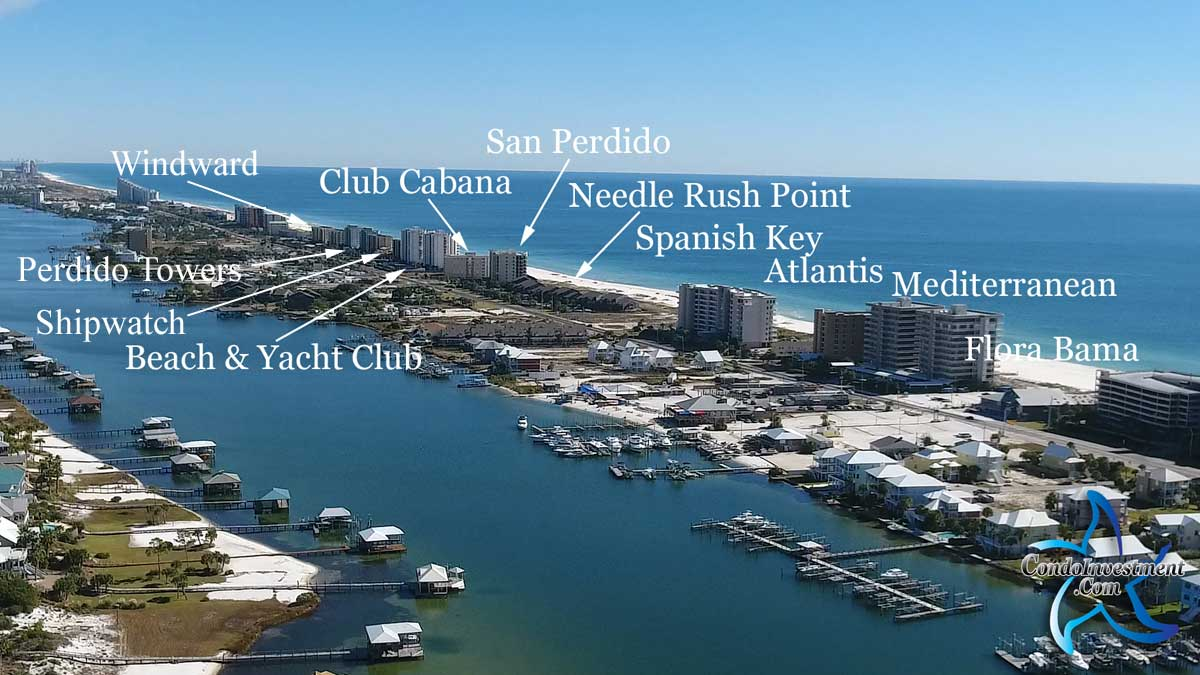 Aerial view of the condos East of Flora Bama with labels and links