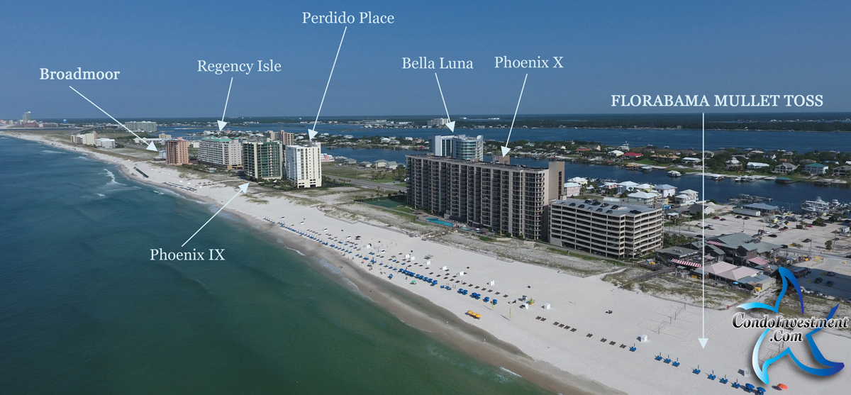 Aerial image of West of Flora Bama with condos labeled