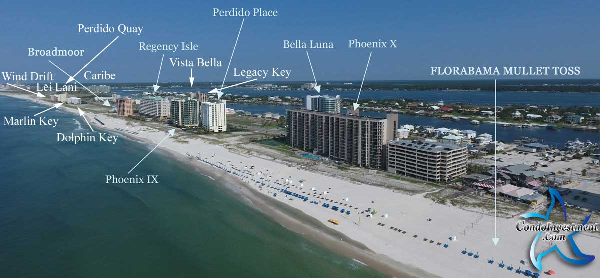 Aerial view West of Flora Bama and labels for the closest condos