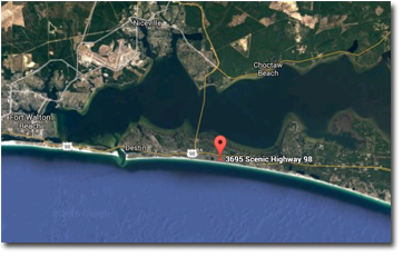 Location map for Beach Pointe Townhomes in Destin FL