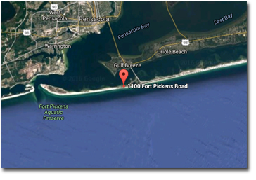 Map for Boardwalk condos on Pensacola Beach FL