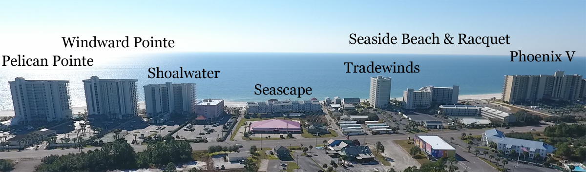 Aerial image of downtown Orange Beach Alabama