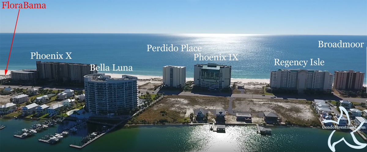 Aerial image of East Orange Beach with labeled condos