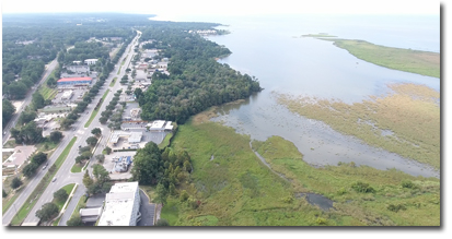 Aerial view of the Eastern Shore and Mobile Bay homes