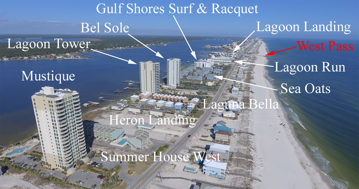 Aerial image of the end of West Beach in Gulf Shores, AL
