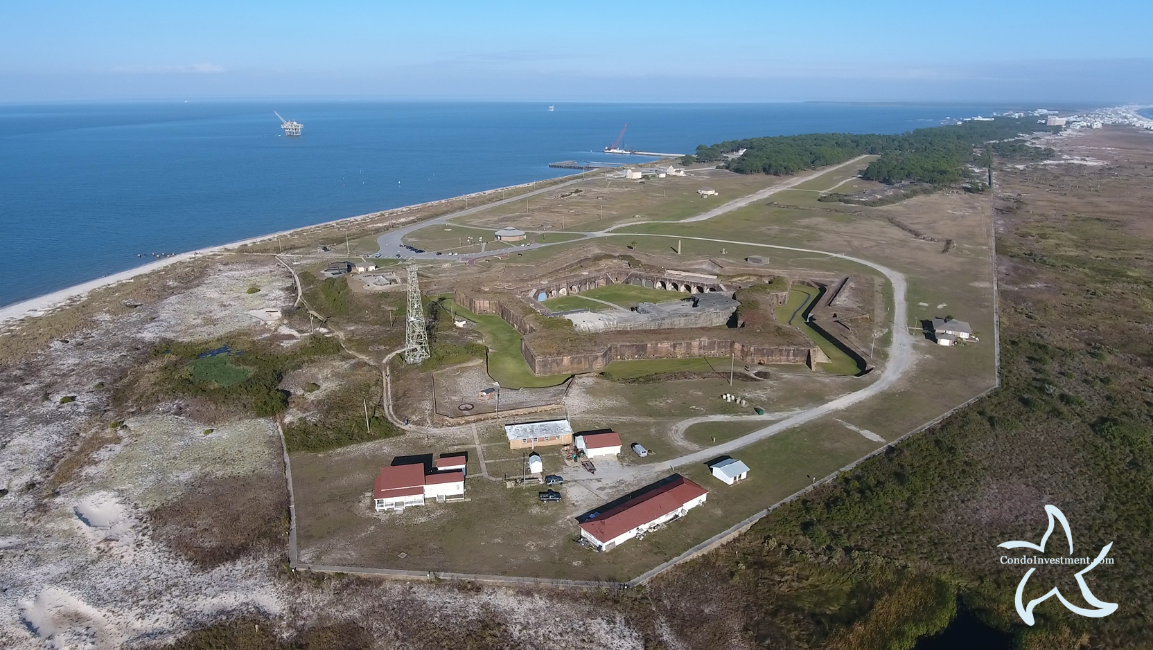 High aerial image of Fort Morgan in Gulf Shores Alabama