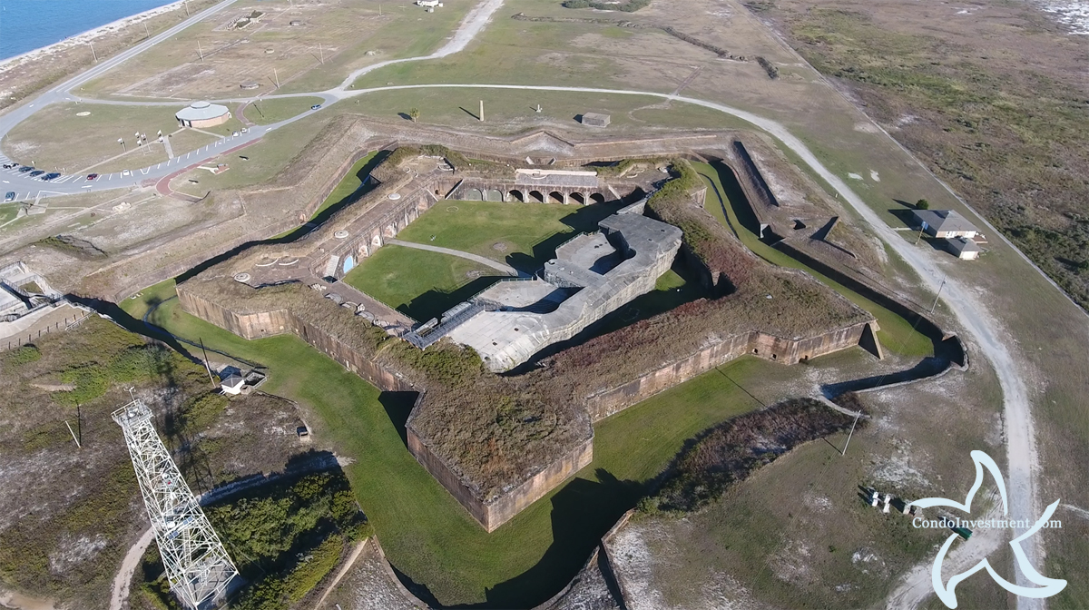 Close up aerial picture of Fort Morgan