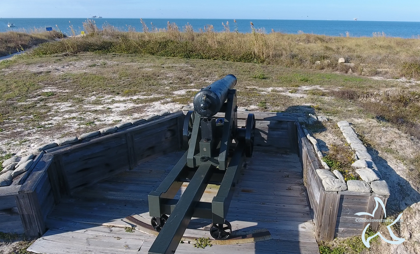 Close up view of a cannon at Fort Morgan in Gulf Shores AL