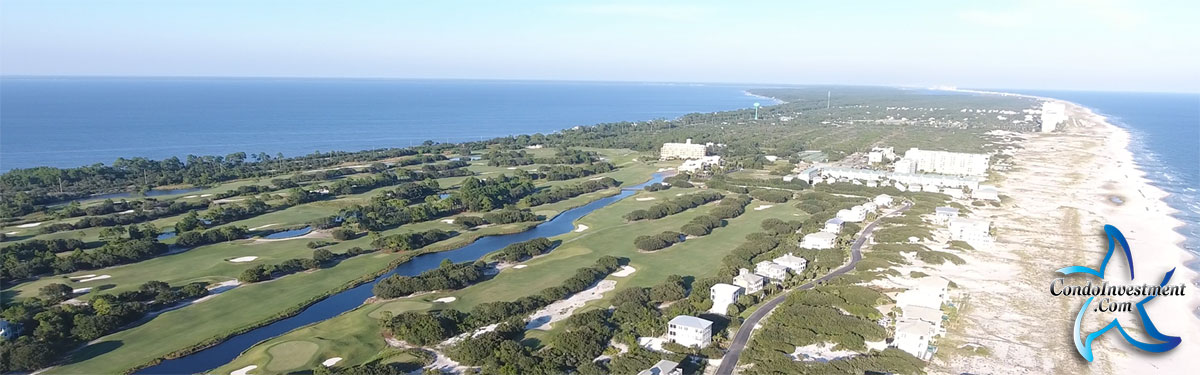 Aerial view of Gulf Shores golf courses and condos