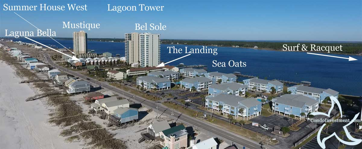 Gulf Shores aerial photo with condos with beach access