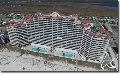 Aerial photo of the Lighthouse condos in Gulf Shores, AL