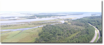 Aerial image of Mobile Bay along the Eastern Shore