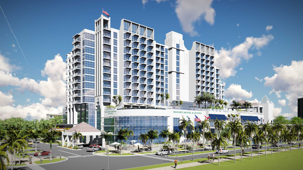 New rendering of Gulf Shores' planned mixed-use hotel in downtown
