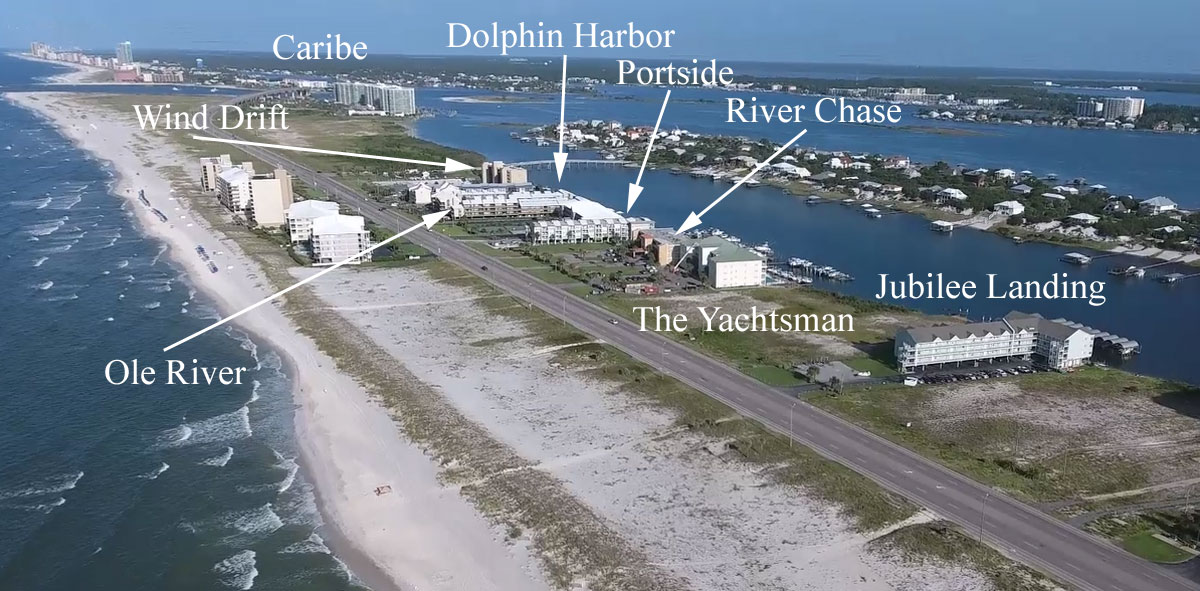 Aerial view of condos in Orange Beach with gulf access and boat slips