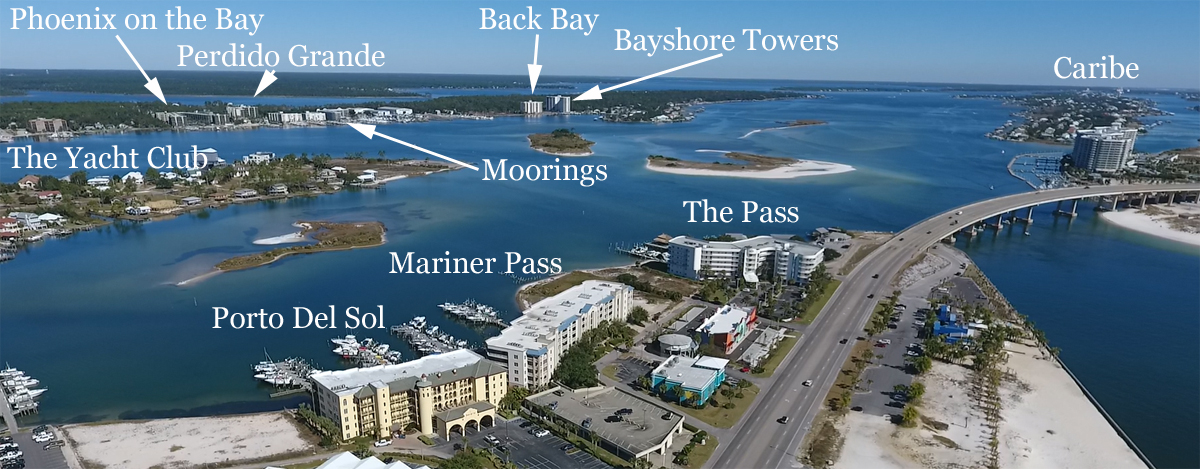 Aerial condo map of Perdido Pass area of East Orange Beach