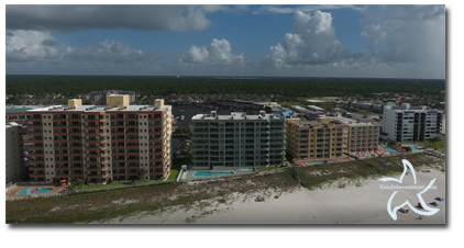 Aerial image of Silver Beach condos in Orange Beach