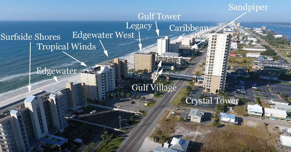 Aerial map of West Beach condos