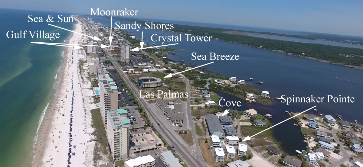 West Beach aerial image with gulf access condos labeled