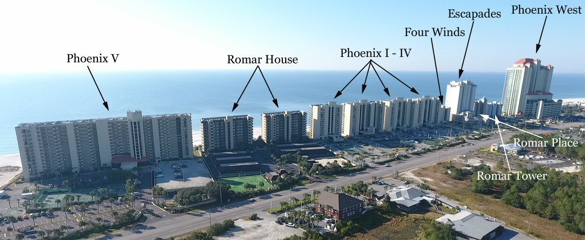 West Orange Beach Aerial Gulf Front Condo Map