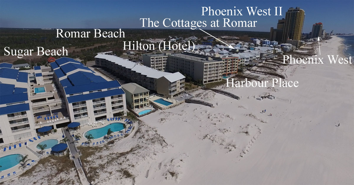 Aerial Image Of The Western Most Tip Orange Beach With Condos Labeled